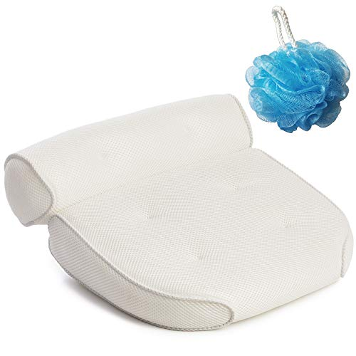 (GORILLA GRIP Original Premium Spa Bath Pillow with 6 Suction Cups, Free Bath Puff, 15