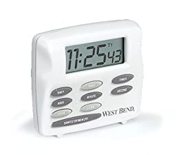 West Bend 40053 Triple Timer with Clock, White