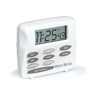 West Bend 40053 Easy to Read Digital Magnetic Kitchen Timer Features Large Display and Electronic Alarm, White