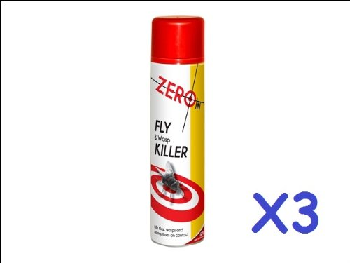 3x STV ZERO IN FLY WASP MOSQUITOES INSECT KILLER KILL SPRAY 300ML