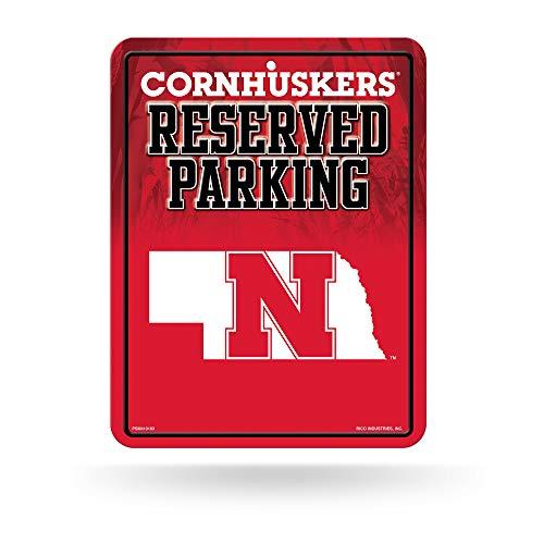 NCAA Nebraska Cornhuskers 8-Inch by 11-Inch Metal Parking Sign Décor - Ncaa Nebraska Cornhuskers Street Sign