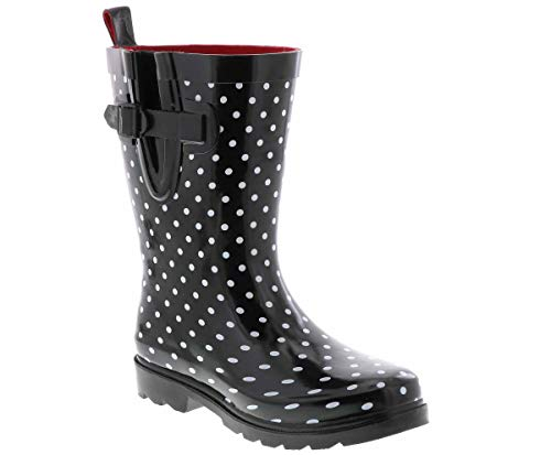 Capelli New York Ladies Flora Printed Mid- Calf Rain Boot Black Combo 9 (Womens Rubber Boot Liners)