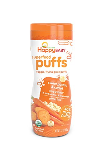 Happy Baby Organic Superfood Puffs, Sweet Potato & Carrot, 2.1 Ounce (Pack of (Potato Puffs)