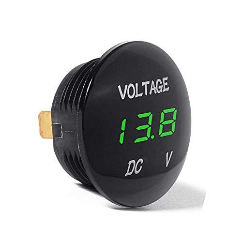 Aofan Voltm/ètre Auto DC 12 V-24 V avec Affichage num/érique LED Moto Camion Vert Mini voltm/ètre Rond /étanche pour Voiture