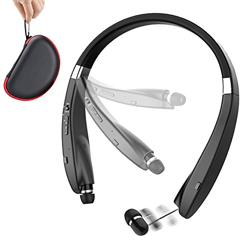 Foldable Bluetooth Headset,URWILL Wireless Neckband Sports Headphones with Retractable Earbuds, Bluetooth Sweatproof 4.1 Stereo Earphones Built-in Mic,Handsfree Calling Bluetooth Devices (Stereo Retractable Headset)