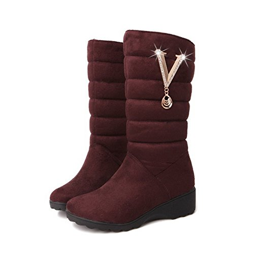 Suede Pull Low Heels Boots Allhqfashion Imitated Brown top Women's Low Solid on xYwaFC5q