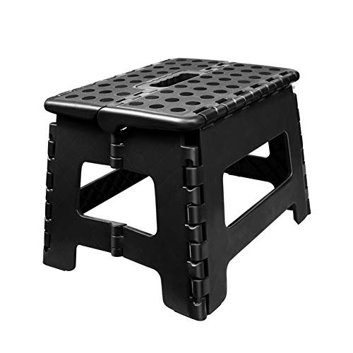 Usmascot Non-Slip Folding Step Stool, Sturdy Safe Enough - Holds up to 350 Lb - Footstool for Adults or Kids, Folding Ladder Storage/Opens Easy, for Kitchen,Toilet,Camping ect. (Black, M) (Portable Step Stool)
