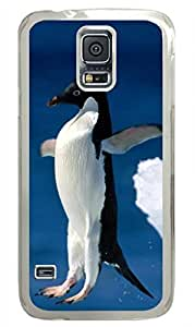 Antarctic Penguin Jumping DIY Hard Shell Transparent Samsung Galaxy S5 I9600 Case By Custom Service Your Best Choice
