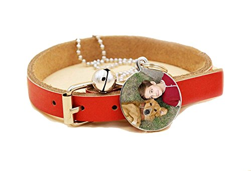 LU2000 Premium Engraved Personalised Pet Dog Cat Puppy Name Nameplate Frame Necklace Pendant - Circle, Pet Dog Cat Tags and Identity Cards, Dog Collar and Dog Tags (XL)