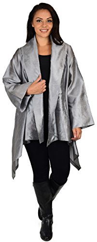 (Dare2BStylish Women Plus Size Loose Fitting Poly Silk Designer Cover Up Duster Jacket Silver)