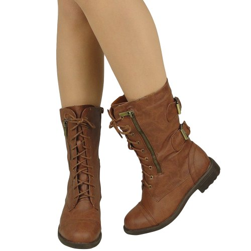 Boots 5 Comfort Women's US Combat 5 Sizes Mid Casual Toe Tan Tan Rounded Calf 10 rv0twv