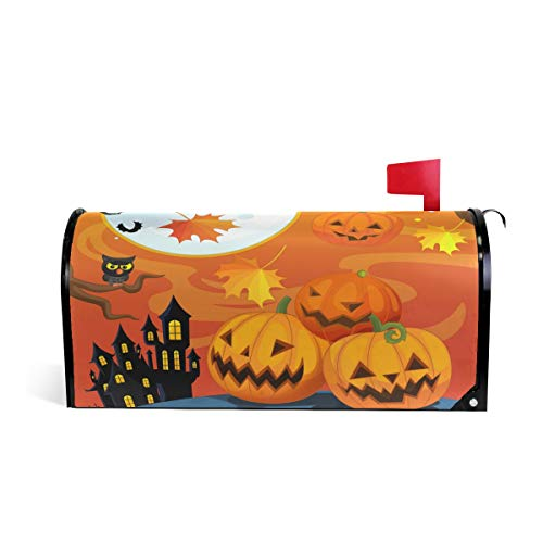 """Naanle Halloween Magnetic Mailbox Cover, Cute Owl and Halloween Pumpkin Autumn Leaves Mailbox Wrap Home Decorative for Standard Size 20.8""""(L) x -"""