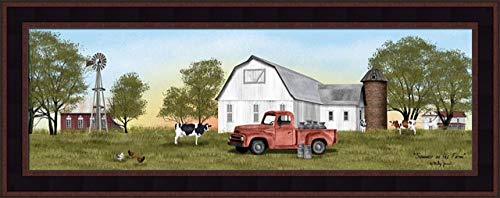 Home Cabin Décor 'Summer On The Farm' by Billy Jacobs 11x27 Cows Chickens Milk Cans Jugs Old Truck Barn Silo Windmill Seasons Framed Art Print Picture