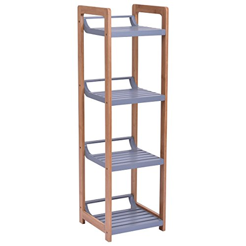 (Multifunction Storage Tower Rack Shelving Shelf Units Stand Bamboo 4 Tier)