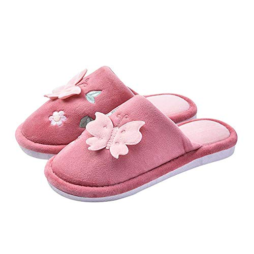 Slip Winter Women Indoor Slippers House 3 Bow Velvet Embroidered Anti Red Shoes qtCCO1xw