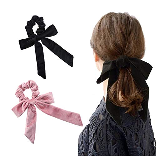 DARLING HER Velvet Scrunchies Elastic Hair Band Bow Hair Ropes Girls Hair Ties Women Hair Accessories Sweet Women Head Band