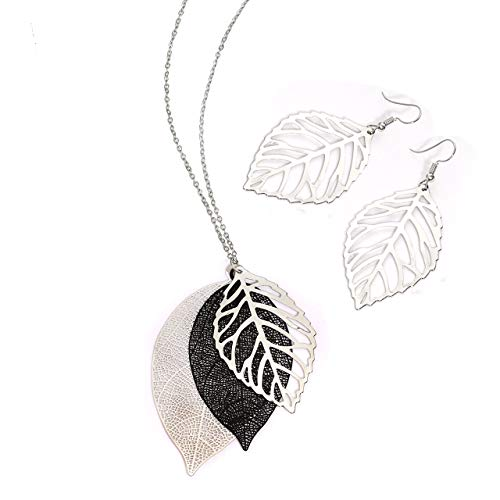 NVENF Leaves Earrings and Long Necklaces Set Multi Tiered Leaf Pendant Necklace Fashion Statement Earrings Metal Sparkling Modern Jewelry Sets (C Silver & Black)