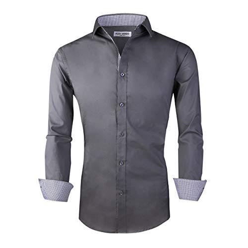 Alex Vando Mens Dress Shirts Regular Fit Long Sleeve Men Shirt(Charcoal,Medium)