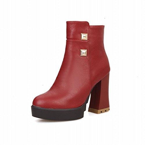 Carolbar Donna Moda Rivetto Eleganza Borchiato Piattaforma Cerniera Abito Tacco Alto Stivali Vino Rosso