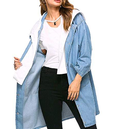Nicelly Womens Classics Jean Pork Chop Pocket Oversize Top Coat Jacket Light Blue OS -