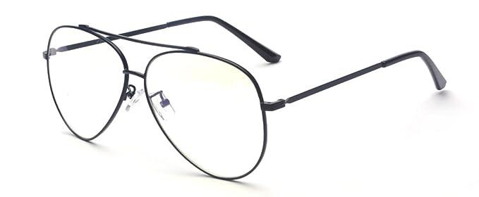 2958385679 ALWAYSUV Moda transparente Lentes gafas Metal marco lentes plásticas Aviador  Vintage gafas marco negro: Amazon.es: Ropa y accesorios