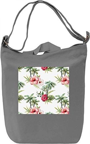 Flamingo Flowers Pattern Full Print Borsa Giornaliera Canvas Canvas Day Bag| 100% Premium Cotton Canvas| DTG Printing|