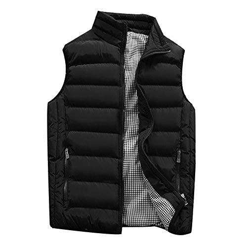 Waistcoats Designer - Men Casual Waistcoat Sleeveless Winter Warm Coat Solid Zipper High Neck Thick Vest Tops Down Jacket by Lowprofile Black
