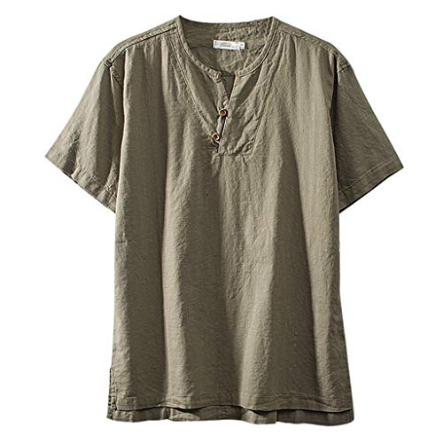 Solid Color Short Sleeve Tops Fashion Mens Cotton Linen Retro T Shirts Blouse Army Green -