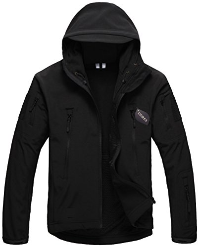 Defender Soft Shell Jacket - UDRES Men's Fleece Liner Outerwear Hooded Water Resistant Softshell Tactical Jacket (Medium, Black)