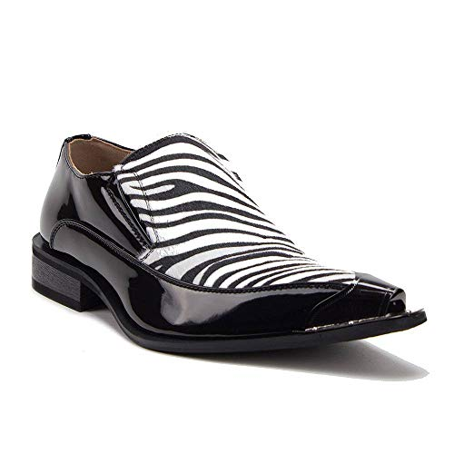 Jazame New Men's 15818 Leather Lined Zebra Print Pony Hair Metal Tip Loafers Shoes, Black/White, 8.5