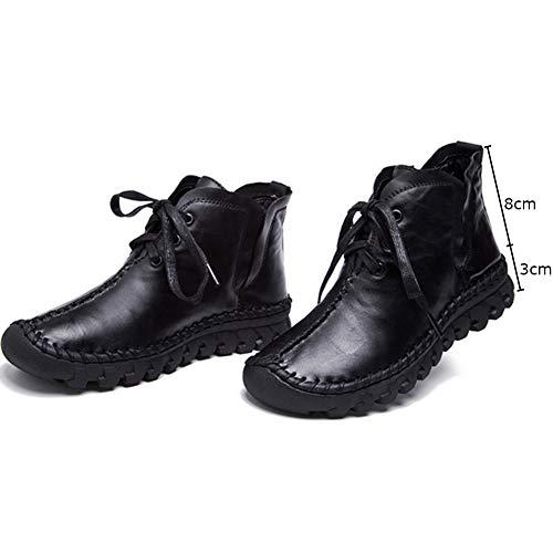 Confort Cuir Wealsex Vertébrale Noir Montante Chaussure Courte Hivers Botte Lacets Plate Bottine Automne À Femme wUtUnqORr