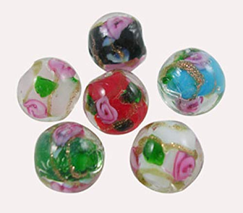 Craftdady 200pcs Mixed Colors Round Flower Inlaid Gold Sand Lampwork Glass Beads Loose Beads Fit Most Major Charm Bracelets -