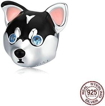 MZNSQB Encanto de Cuentas de Perro Animal de Cachorro para Pulsera de Serpiente Original de 3 mm Pulsera de Plata esterlina Genuina 925 Pulsera de Bricolaje