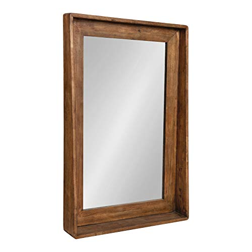 Kate and Laurel Basking Vertical Wood Wall Mirror with Shelf, Rustic Caramel Finish, 24 x 36 (Caramel Medium Finish)