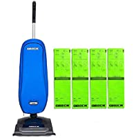 Oreck Upright Vacuum Cleaner Blue Axis with 4 Oreck SELECT Bags Bundle | 3 YEAR Warranty | 2 Tune Ups | Carpets, Tile and Hardwood Flooring | Dirt, Debris, Pet Hair | Lightweight, High-Suction Clean