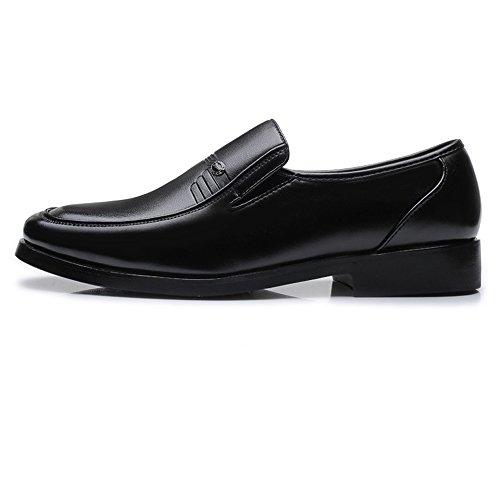 Slip Black Sole Lined Ruiyue on Oxfords Business Shoes,PU for Men's Breathable Classic Soft Loafers Leather Men BwwqZXxC8