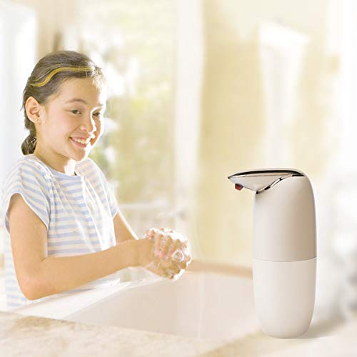 Xiangmeile Automatic Foaming Soap Dispenser, Touchless Battery Operated Infrared Soap Dispenser Waterproof Adjustable for Bathroom Kitchen (White)