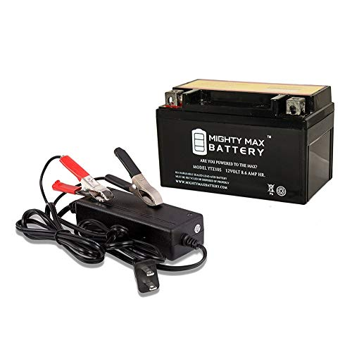Mighty Max Battery YTZ10S Battery Replaces Yamaha YZF R1 1000 YZFR1TC 05 + 12V 2A Chargr Brand -