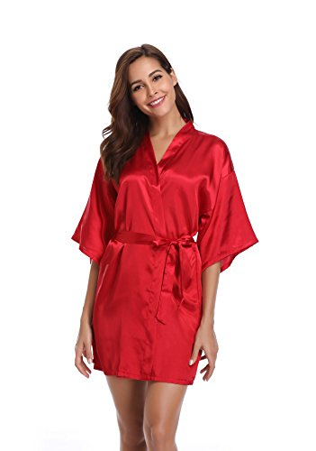 Vlazom Women Kimono Robes Satin Dressing Gown Short Silk Bridal/Bridesmaid Robe Nightwear with Oblique -