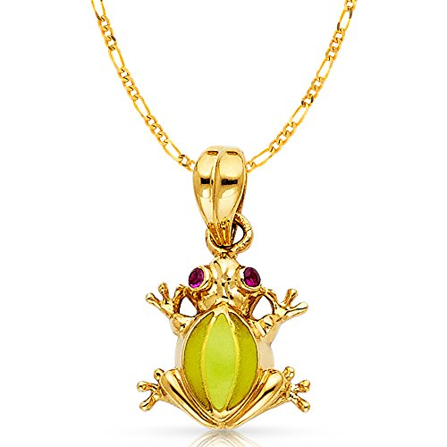 (14K Yellow Gold Frog Charm Pendant with 2.3mm Figaro 3+1 Chain Necklace - 18