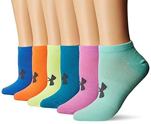 Under Armour Women`s Big Logo No-Show Socks (6 Pack) (Black (1259396-001) / Blue/Pink/Orange, Medium)