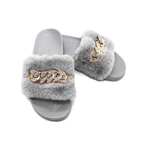 En intérieure Couleurs Pantoufle Fluffy Sweet Coface Peluche Chaussons 5 Plates Avec Extérieure Femme Douces Gris Diamant Sandales wx7xz6qA