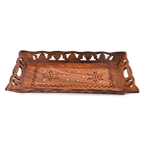 Designer Platter - Rusticity Indian Rosewood Antique Designer Butler Serving Tray for Hot & Cold Drinks/Vintage Rustic Decorative Handmade Sheesham Food Platter for Dining Tableware & Kitchen Accessory