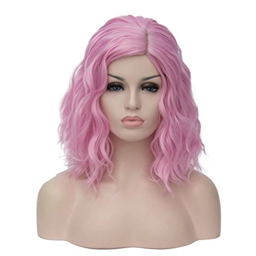 14 Women Short Kinky Straight Cosplay Synthetic Wigs With Air Bangs 9 Colors Available