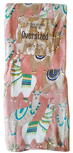 Super Soft Llama Oversized Throw Blanket for Sofa Chair Or Bed (Dusty Rose) (Lama Chair)