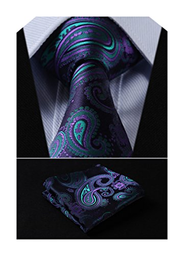 SetSense Men's Floral Paisley Jacquard Woven Tie Necktie Set 8.5 cm / 3.4 inches in Width Navy Blue / Green / Purple