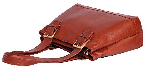 Damen Echtes Leder Schulter Handtasche Arbeit Organizer Lässige Tasche Bellevue Braun F0wtSP