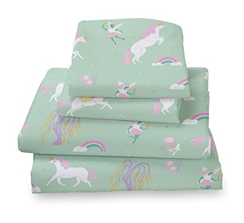 Where The Polka Dots Roam Full Fairytale Print Sheet Set for Kids Bedding - Double Brushed Ultra Microfiber Luxury Bedding Set - Green Design Rainbow