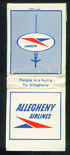 Allegheny Airlines airline matchbook 20-stick unused logo & DC-9 profile back