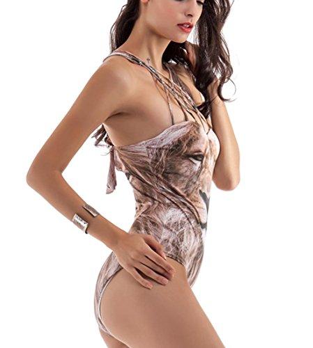 HZZ de las mujeres del traje de baño de una pieza con 3D impresión digital sin espalda halter de Monokini del bikini picture color
